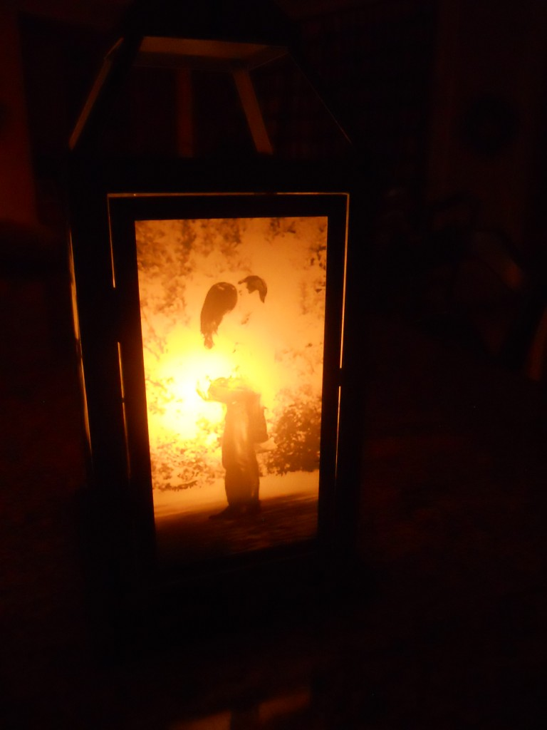 photo lantern with candle inside