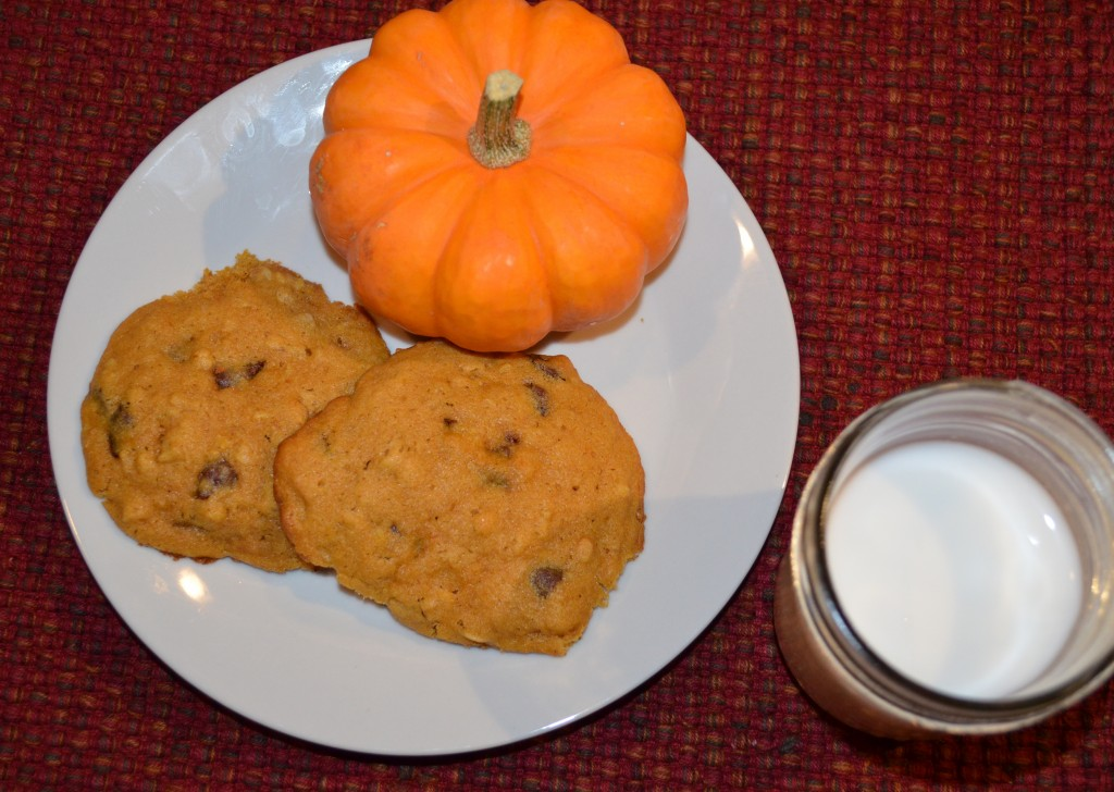 pumpkin cookies and milk