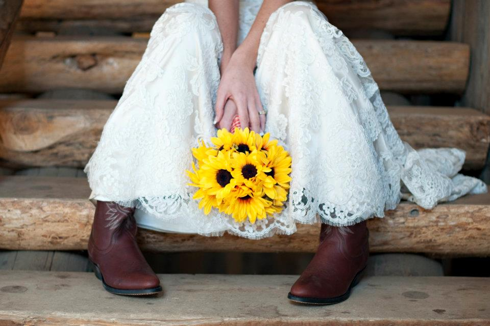 sunflower bouquet and boots
