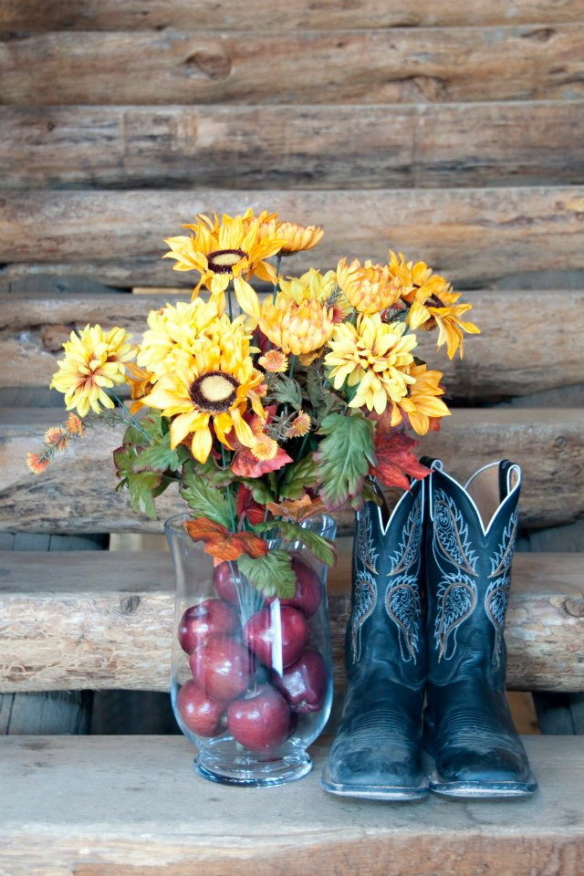 centerpiece and boots