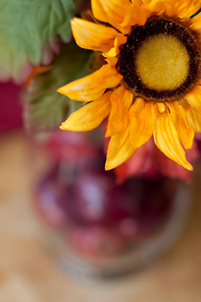 sunflower centerpiece with apples