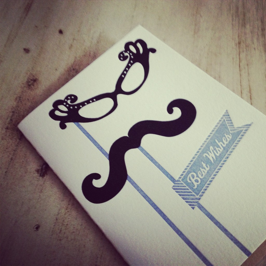 mustache wedding card
