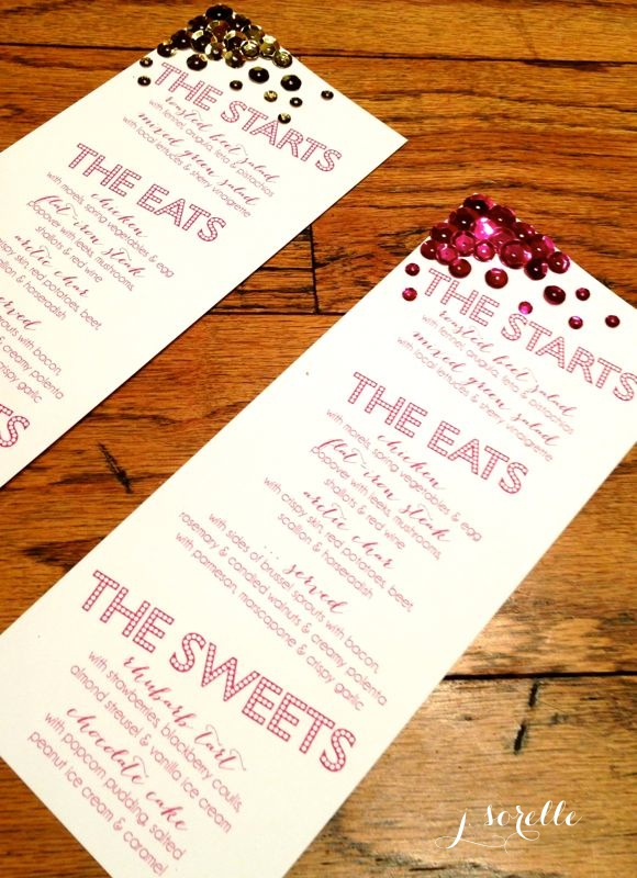 DIY sequin menu