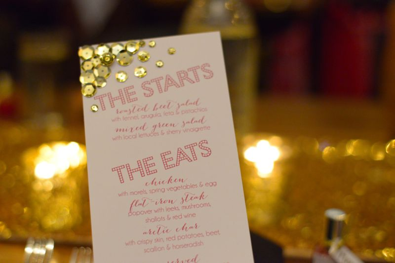bachelorette sequins menu