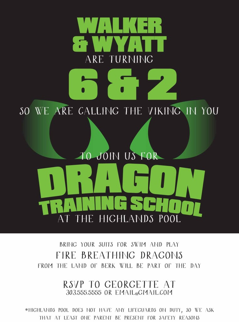 how to train your dragon birthday invitation