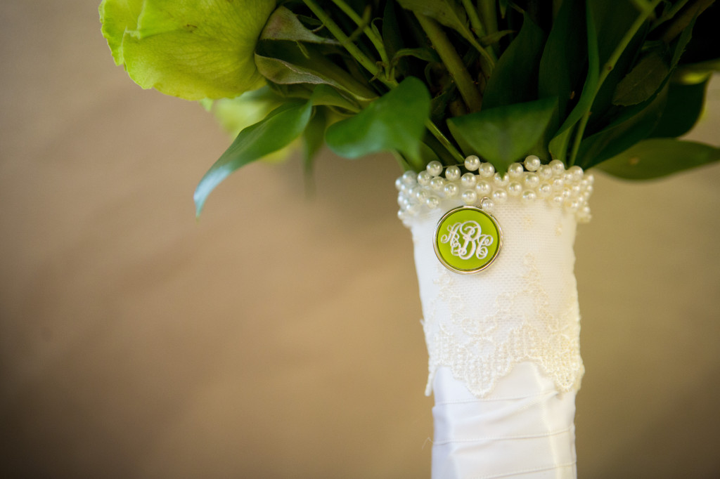 monogram on flowers