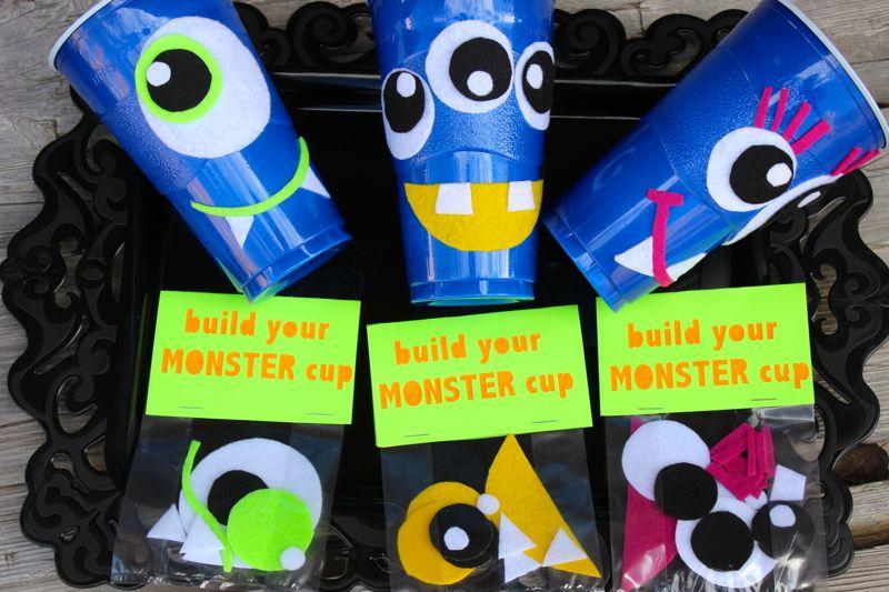 DIY halloween monster cups