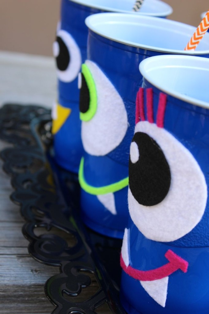 DIY halloween monster cups