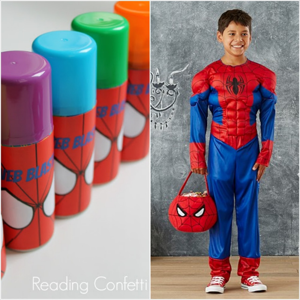 spiderman halloween costume and favor