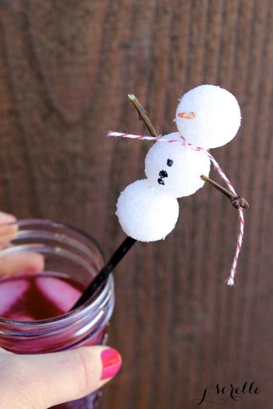 snowman drink stirrer