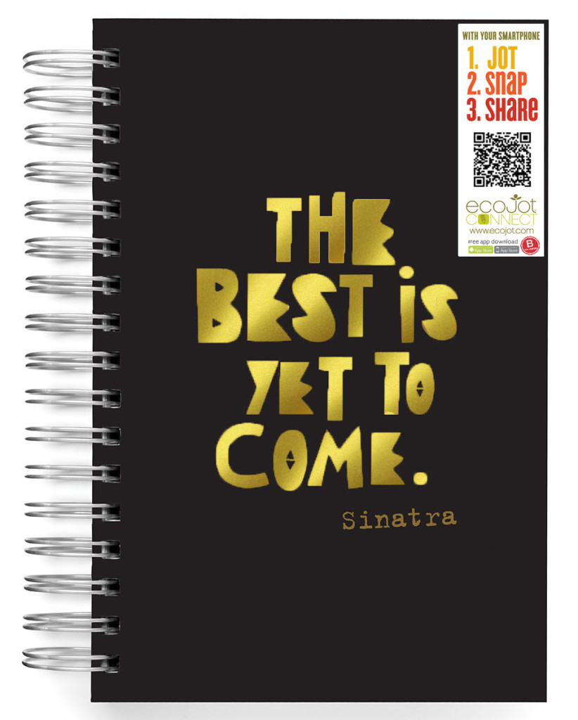 the best is yet to come journal-ecojot-journal-black journal with gold foil writing