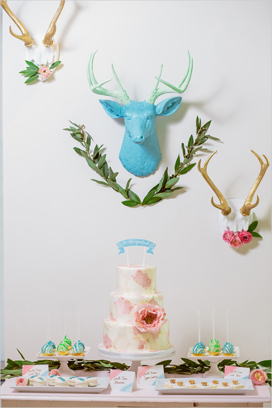 dessert table-deer-head-floral-wreath-flower-pink-turquoise-spring-party