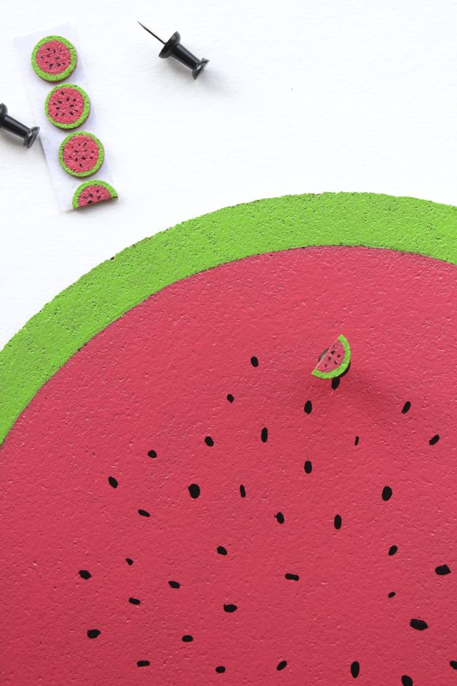 watermelon-pink-green-DIY-corkboard-pushpins-office-wall-decor-teacher-hostess-gift