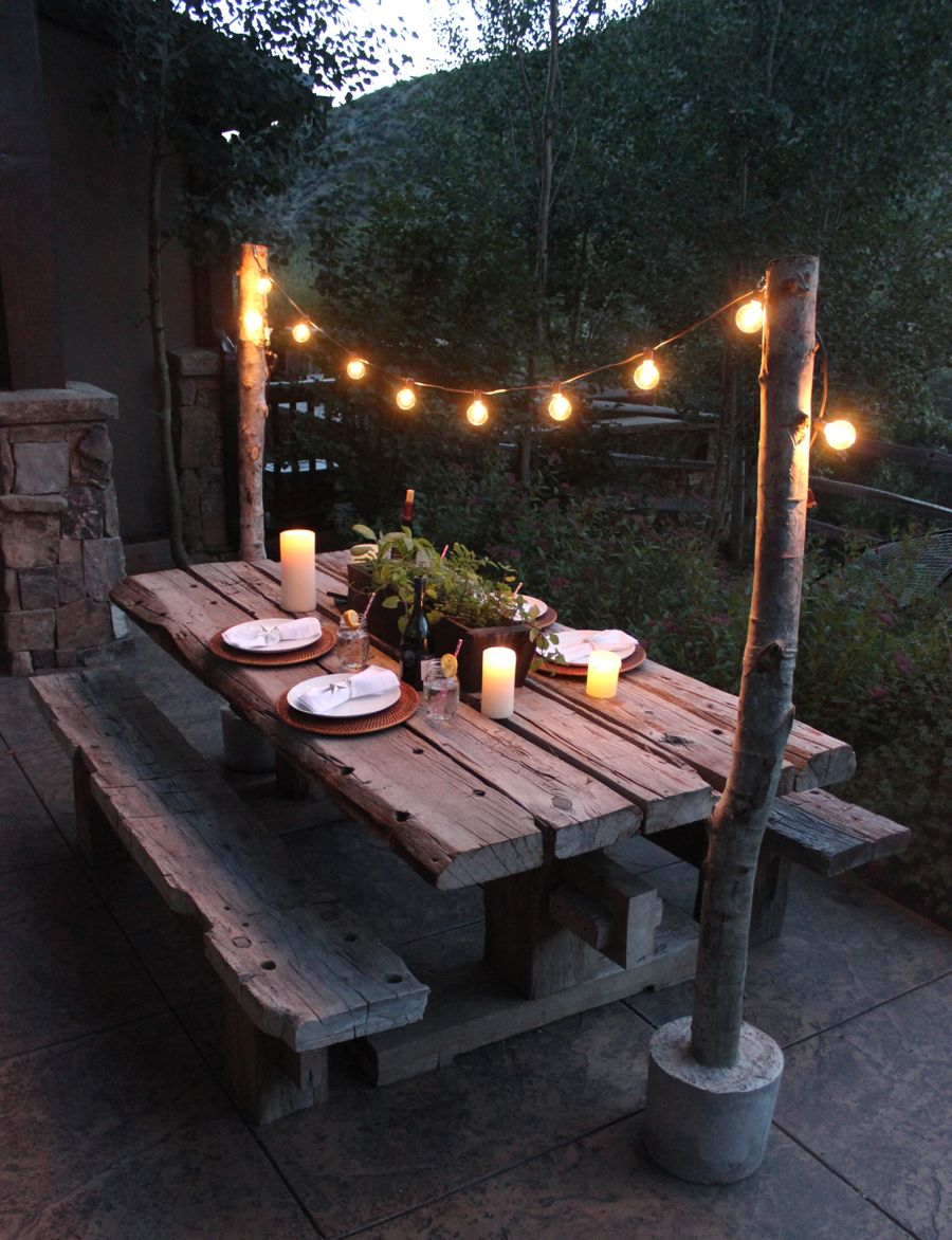 Merveilleux Concrete Globe Lights Aspen Trunk Picnic Table Wood