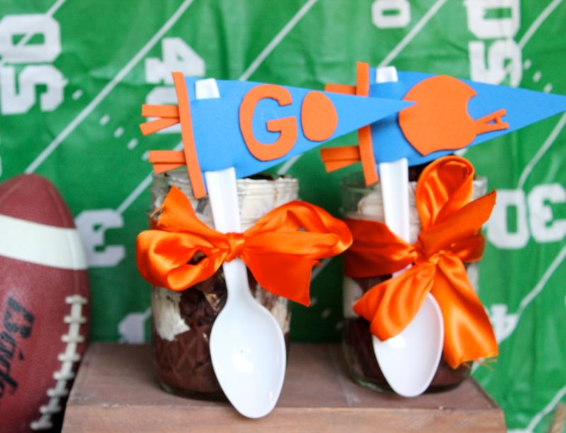 football-pennant-orange-bow-chocolate-trifle-dessert