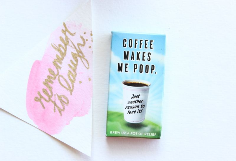 remember-to-laugh-coffee-gum-pink-watercolor-diy-gift