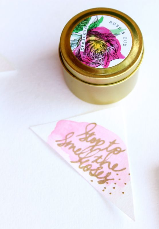 stop-to-smell-the-roses-candle-diy-gift-pink-watercolor-tag