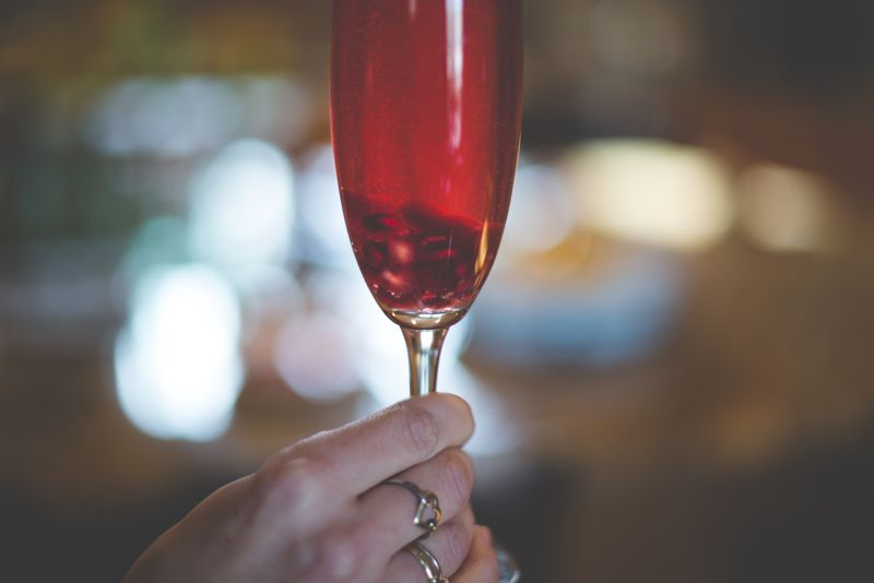 pomegranate champagne cocktail for the holidays