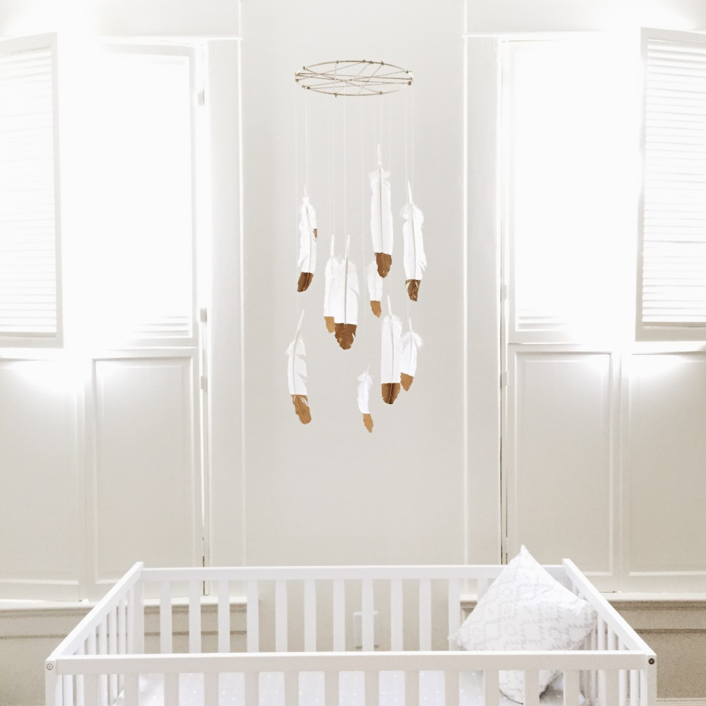 Nice Baby Boy Nursery Themes Ideas Tips 2016: DIY Nursery Decor: Gold-Dipped Feather Mobile