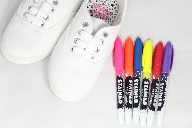 white-shoes-colorful-fabric-pens