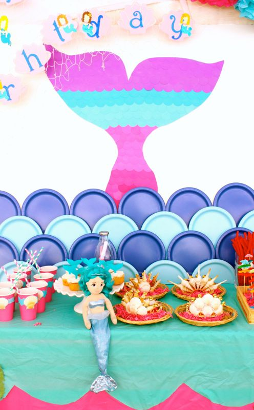 mermaid-tail-colorful-seashell-crowns-doll-girl-party