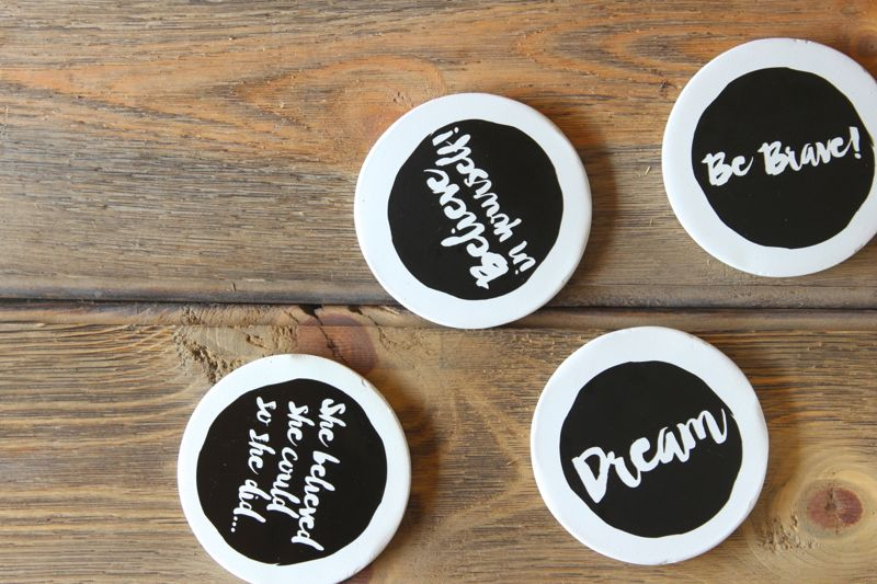black-white-coasters-diy-idea-swap-desk-accessory-dream-quotes-wood