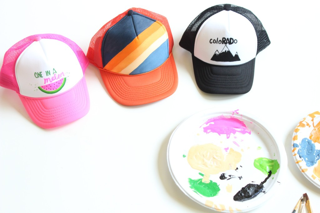 kids-wearing-diy-trucker-hats-with-a-watermelon-orange-and-blue-rainbow-and-black-and-white-mountains