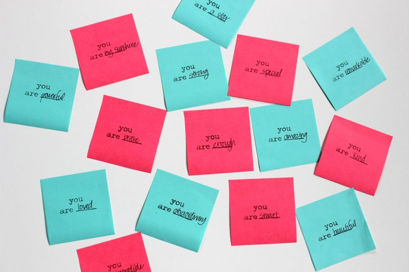 you-are-stamps-pink-teal-post-it-notes