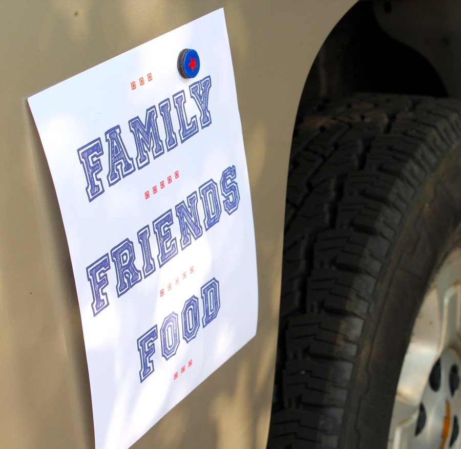 family-friends-food-football-sign-on-car-with-diy-magnet