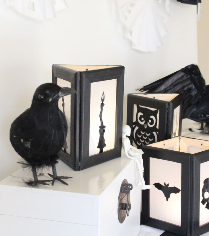 DIY-black-and-white-lanterns-oriental-trading-crow-halloween-decor