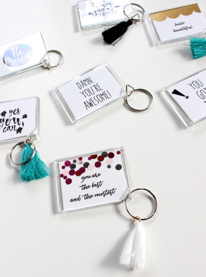 diy-acrylic-keychains-with-tassels-and-black-and-white-good-vibes-words