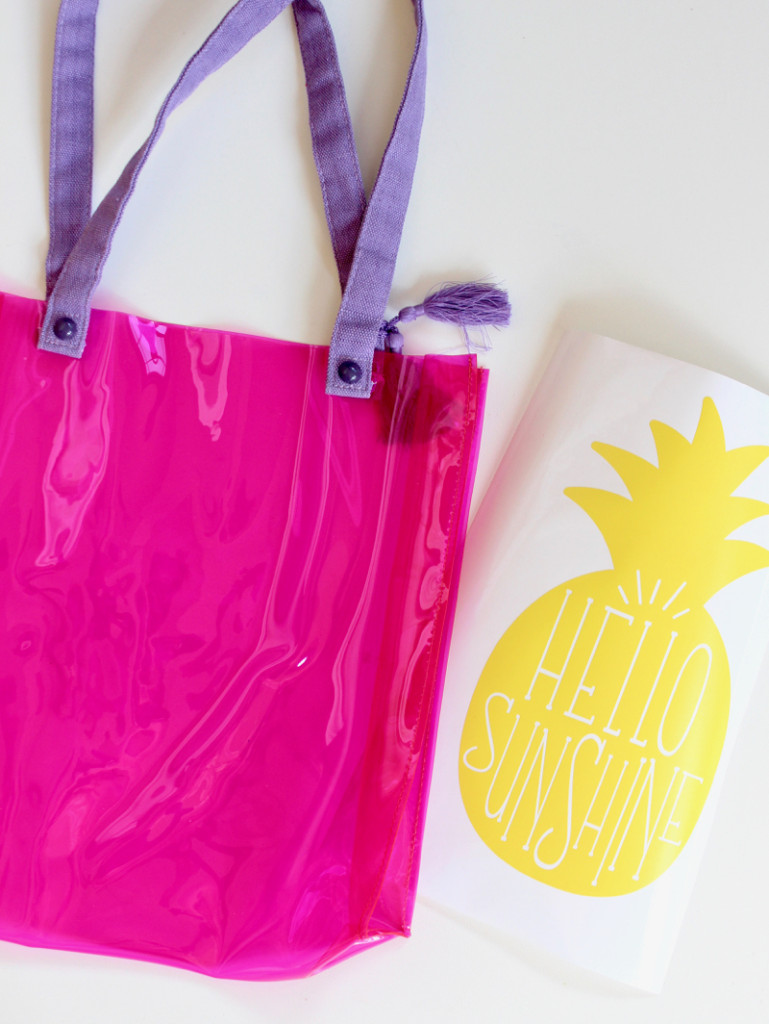 pink-clear-bag-with-hello-sunshine-yellow-pineapple