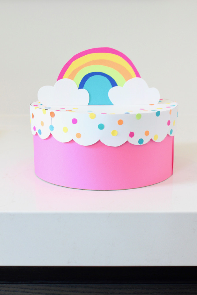 confetti-diy-paper-cake-with-rainbow-topper