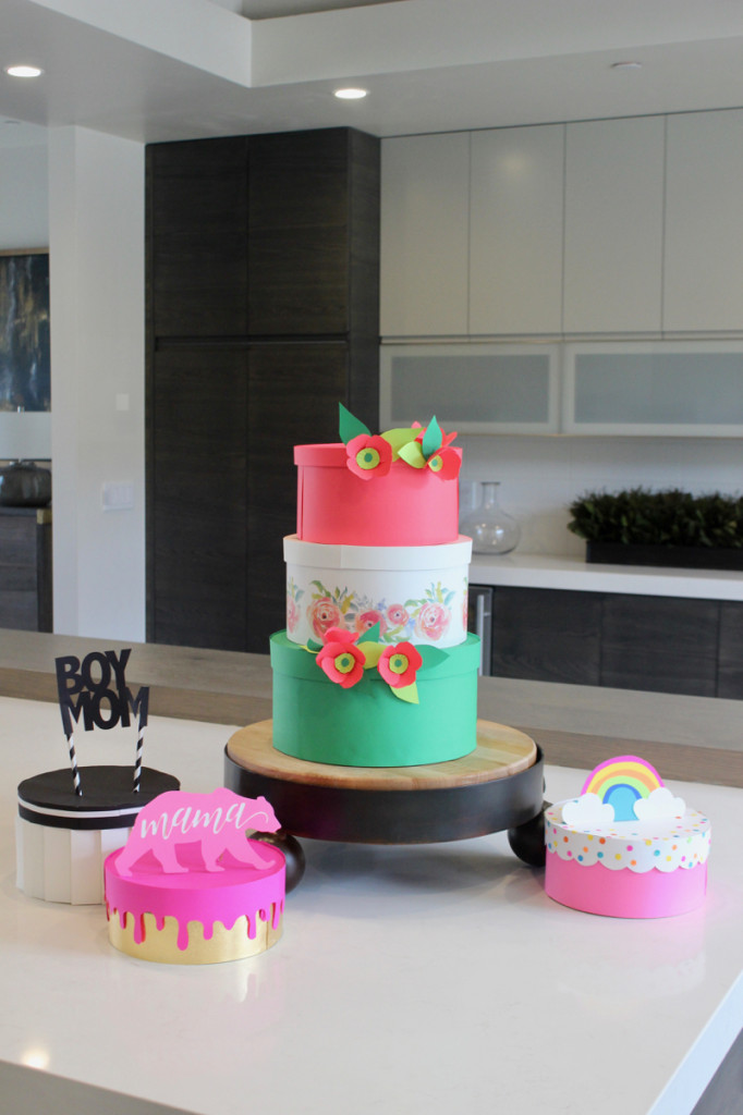 diy-colorful-paper-cakes-mothers-day-gift-wrap-mama-bear-rainbow-cake-topper