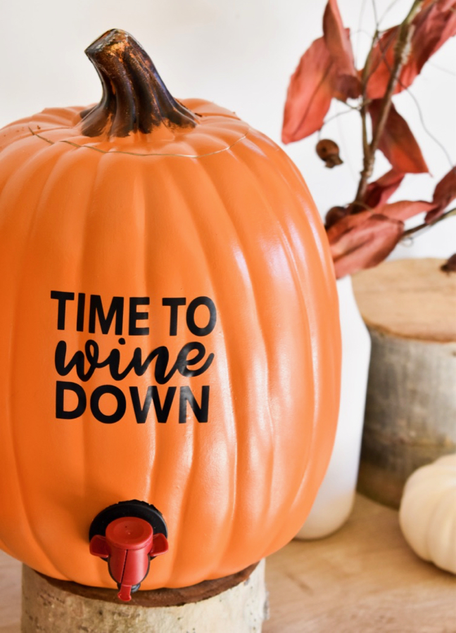 diy wine pumpkin dispenser for boxed wine