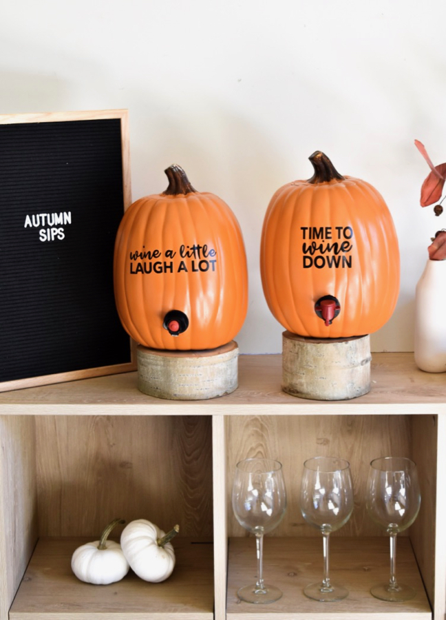 diy wine dispenser pumpkins for fall bar