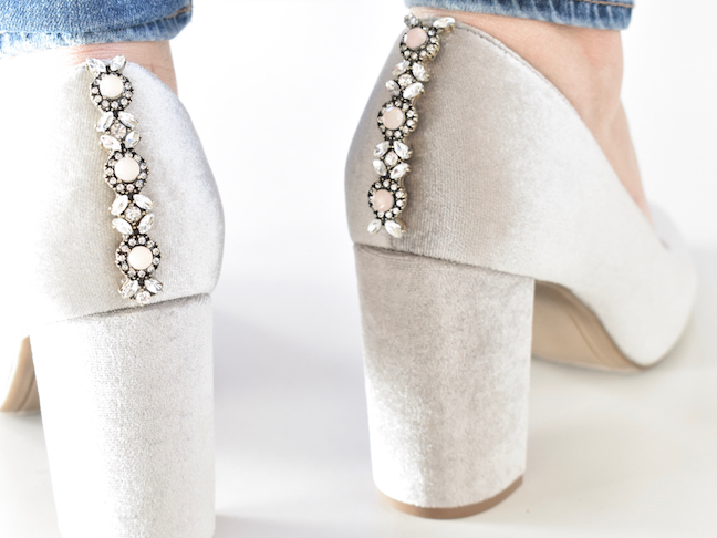 diy embellished shoes for a glam holiday party