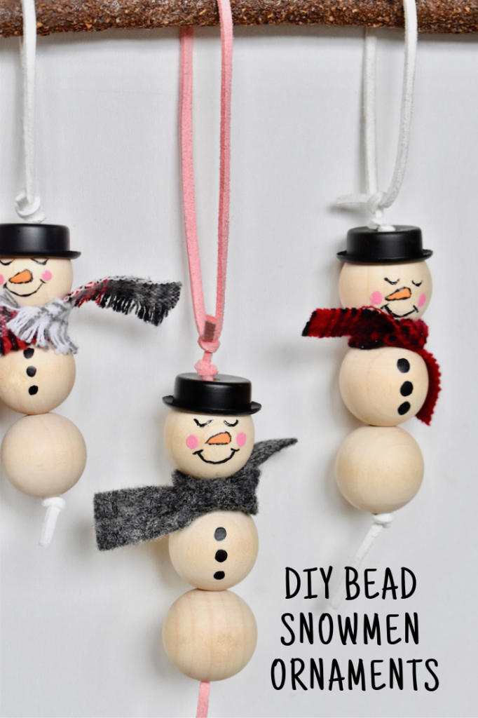 DIY BEAD SNOWMEN ORNAMENTS
