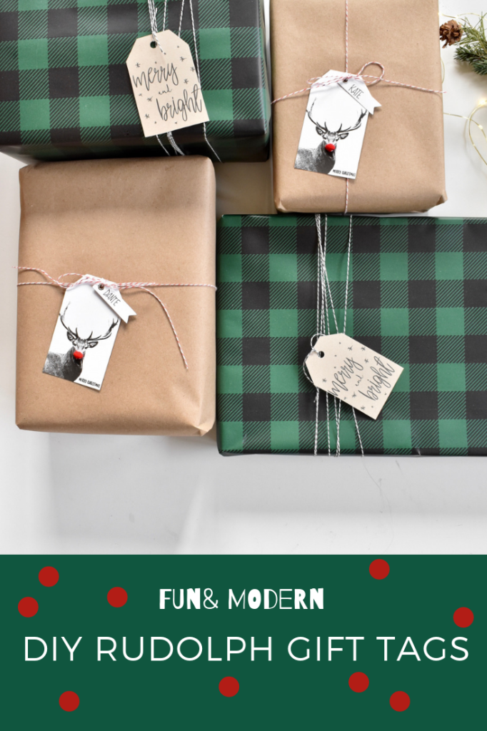 DIY Modern rudolph gift tags