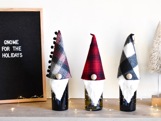 diy gnome wine toppers
