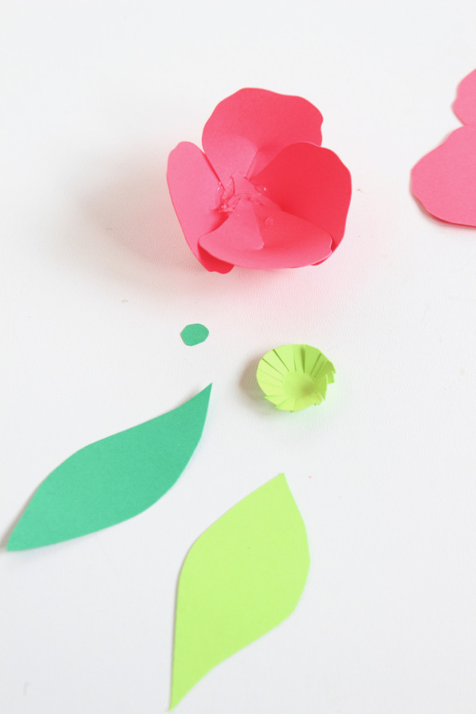 paper-flowers-and-green-leaves
