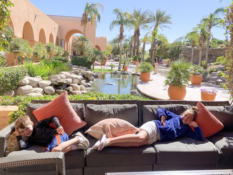 kids relaxing in palm springs at westin mission hills palm springs