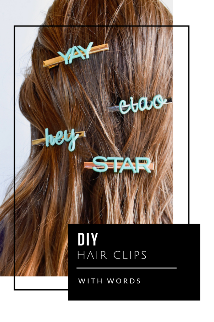 DIY hair clips with words for teens and tweens