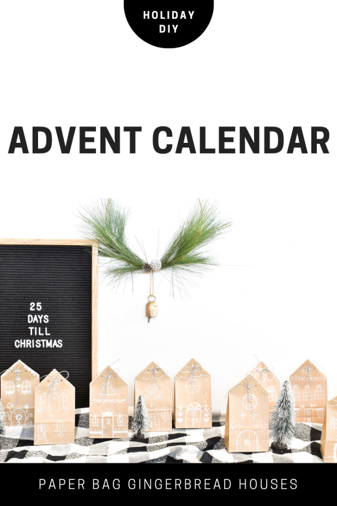 DIY Advent Calendar with paper gingerbread houses