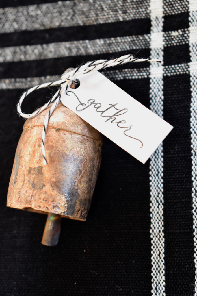 antique bell with gather tag for holiday decor