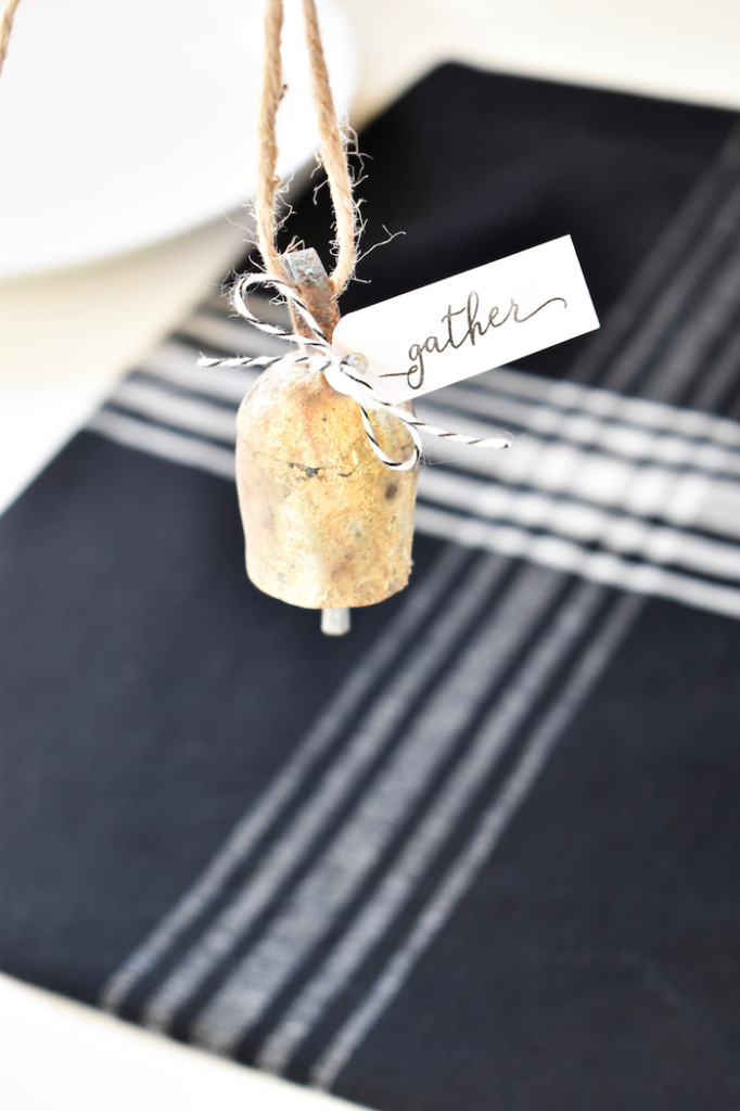 bell with gather tag for thanksgiving table setting