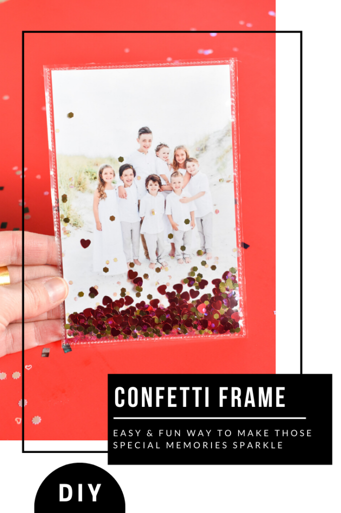 DIY heart confetti frame for valentines day