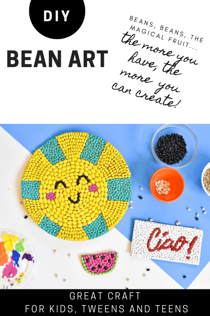DIY bean art for kids and tweens