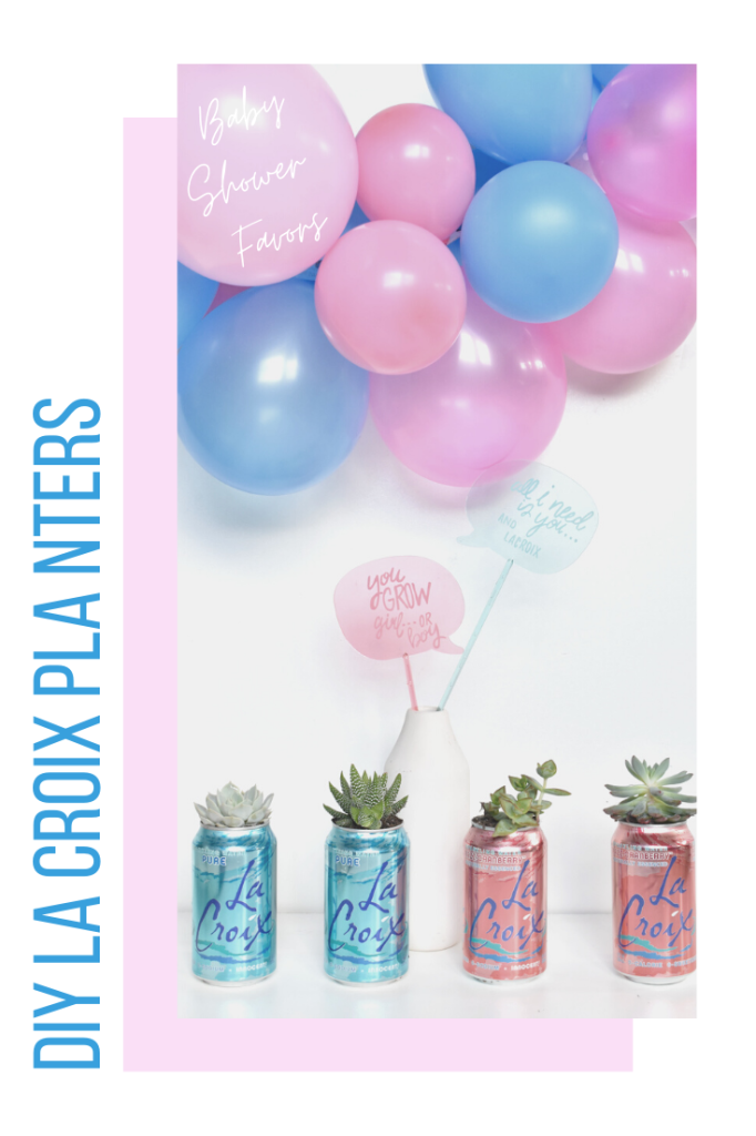 lacroix cans make the cutest diy baby shower planter