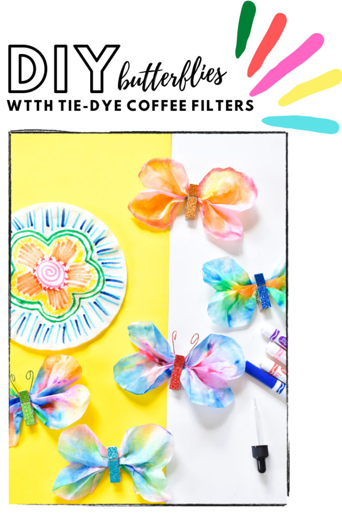 diy coffee filter art for kids-tie dye butterfly